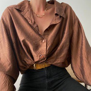 Vintage Silk Oversized Blouse Button Up